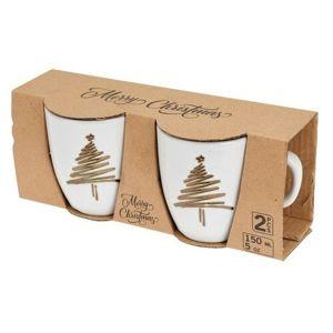 2-dielna sada kameninových hrnčekov Vianočný strom 150 ml, biela
