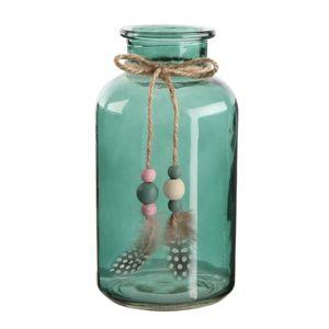 Altom Sklenená dekoratívna fľaša s pierkami, 10 x 20 cm