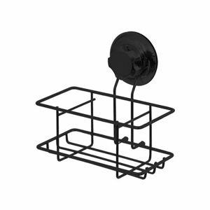 Malá polička na stenu Compactor Bestlock Black s prísavkou - bez vŕtania, nosnosť až 6 kg