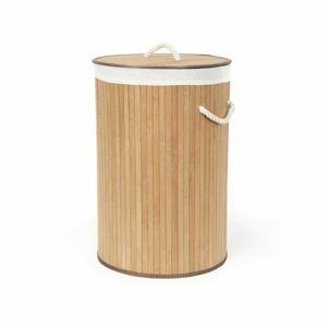 Compactor Bambusový kôš na bielizeň s vekom Compactor Bamboo - okrúhly, prírodný, 40 x 60 cm