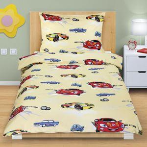Bellatex Detské bavlnené obliečky Pretekárske autá žltá, 140 x 200 cm, 70 x 90 cm