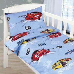 Bellatex Detské bavlnené obliečky do postieľky Agáta Závodní auta modrá, 90 x 135 cm, 45 x 60 cm