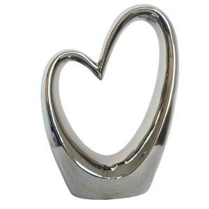 Keramická strieborná dekorácia Srdce, 17,5 x 24,5 cm