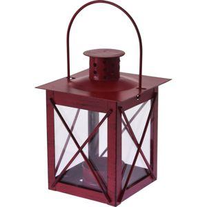 Kovový lampáš na čajovú sviečku Redline červená, 10 x 14 cm