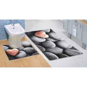 Bellatex Kúpeľňová predložka Tmavé kamene 3D, 60 x 100 + 60 x 50 cm