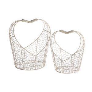 Sada kovových košíkov Hearts, 2 ks