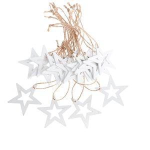 Sada vianočných drevených ozdôb Hviezda biela, 18 ks