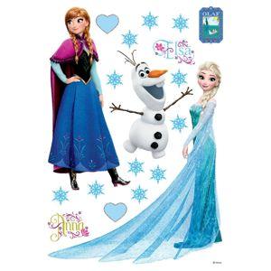 Samolepiaca dekorácia Elsa, Anna a Olaf,  42,5 x 65 cm