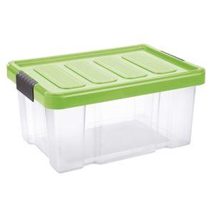 Tontarelli Úložný box s vekom Puzzle Clips 14 l, transparentná/zelená