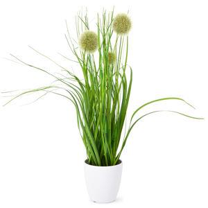 Umelá kvitnúca tráva Justine zelená, 36 cm