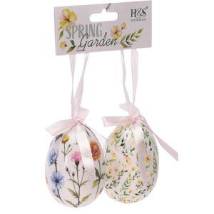 Veľkonočná závesná dekorácia Floral Eggs 2 ks, biela