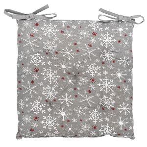 Forbyt Vianočný sedák Vločka sivá, 40 x 40 cm